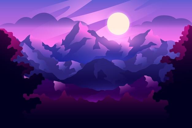 Gradientowy krajobraz z górami