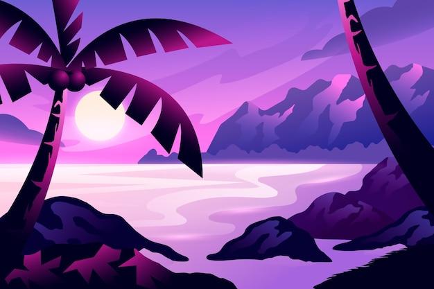 Gradientowy krajobraz z palmą