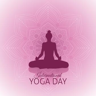 Gradientowy międzynarodowy dzień ilustracji jogi
