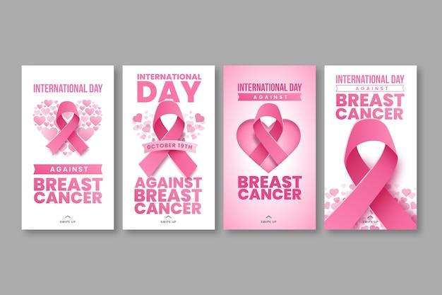 Gradientowy międzynarodowy dzień przeciwko rakowi piersi kolekcja opowiadań na instagramie