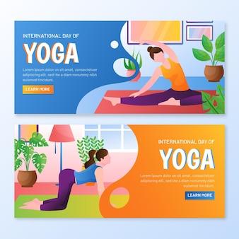 Gradientowy międzynarodowy dzień szablonu transparentu jogi
