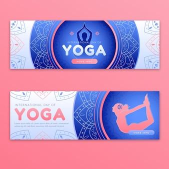 Gradientowy międzynarodowy dzień ustawionych banerów jogi