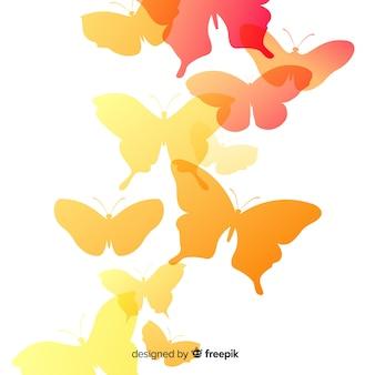 Gradientowy motyla mrowia sylwetki tło