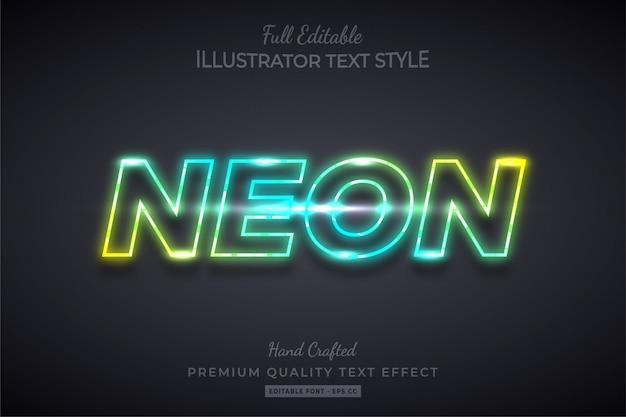Gradientowy neon edytowalny efekt stylu tekstu 3d premium