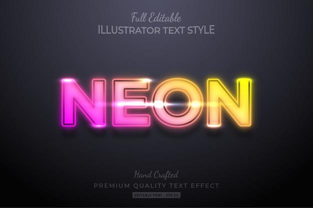 Gradientowy neon edytowalny efekt tekstowy 3d