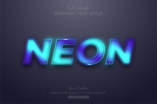 Gradientowy neon niebieski edytowalny styl czcionki efektu tekstowego