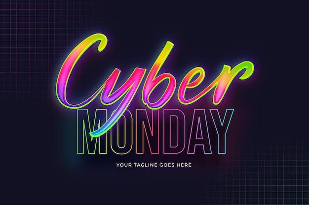 Gradientowy neonowy napis cyber poniedziałek