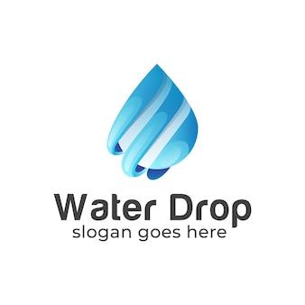 Gradientowy niebieski z logo kropli wody