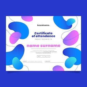 Gradientowy nowoczesny certyfikat uczestnictwa