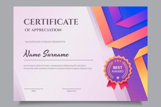Gradientowy nowoczesny certyfikat uznania szablon