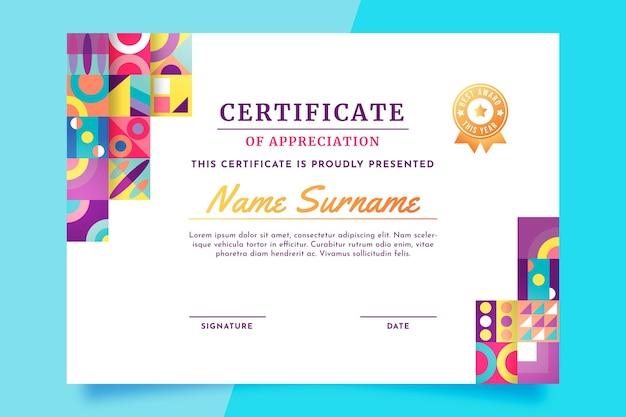 Gradientowy nowoczesny certyfikat