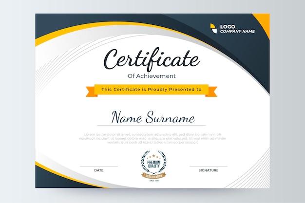 Gradientowy Nowoczesny Szablon Certyfikatu Darmowych Wektorów