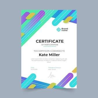 Gradientowy nowoczesny szablon certyfikatu