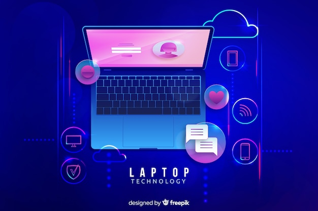 Gradientowy odgórny widok laptopu tło