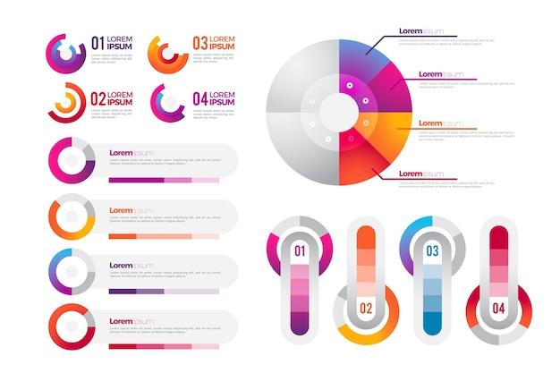 Gradientowy pakiet elementów infografiki