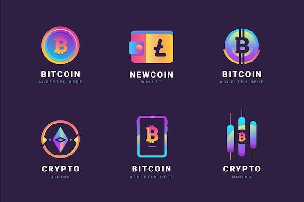 Gradientowy pakiet logo bitcoin