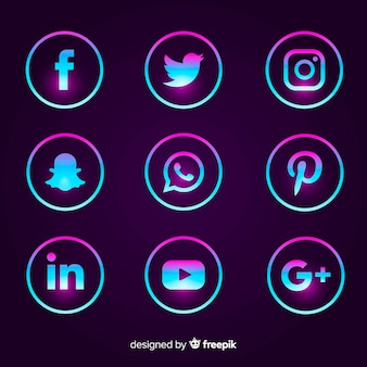 Gradientowy pakiet logo mediów społecznościowych