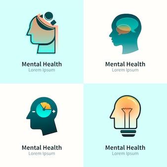 Gradientowy pakiet logo zdrowia psychicznego