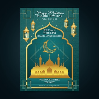 Gradientowy pionowy szablon plakatu islamskiego nowego roku