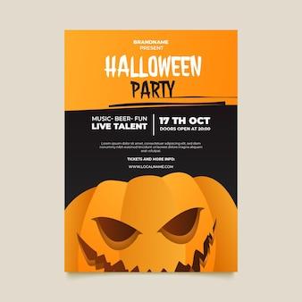 Gradientowy pionowy szablon ulotki halloween party