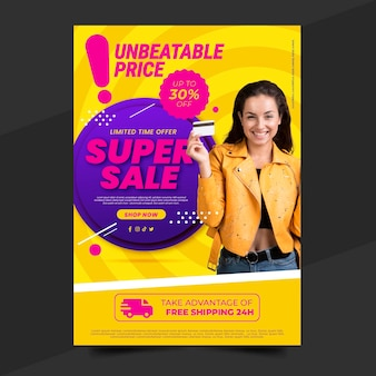 Gradientowy plakat sprzedażowy z szablonem zdjęć