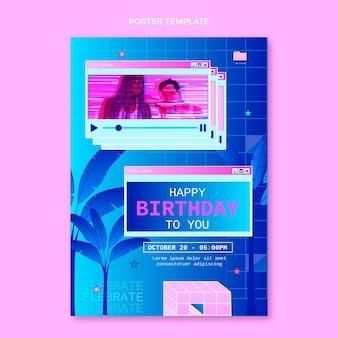 Gradientowy plakat urodzinowy retro vaporwave