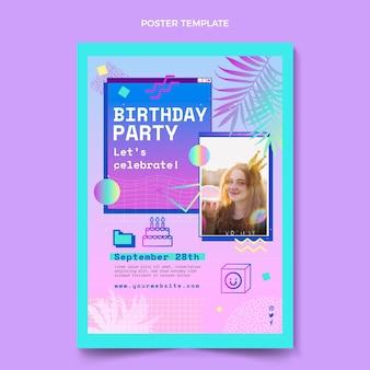 Gradientowy plakat urodzinowy vaporwave