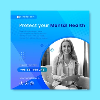 Gradientowy post na instagramie zdrowia psychicznego ze zdjęciem