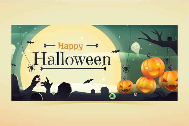 Gradientowy poziomy baner na halloween