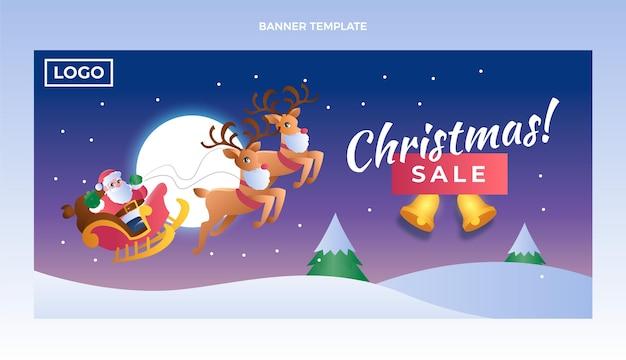 Gradientowy poziomy baner świąteczny