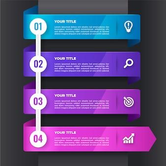 Gradientowy projekt infografiki kroków