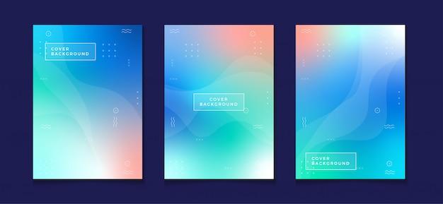 Gradientowy projekt okładki szablon pastelowy kolor