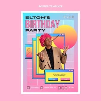 Gradientowy retro szablon plakatu urodzinowego vaporwave vapor