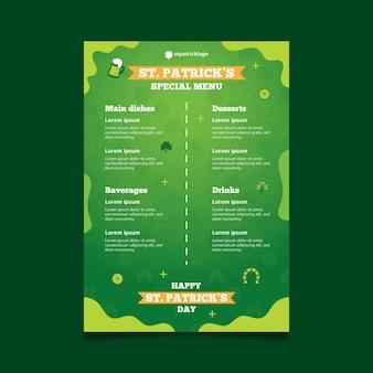Gradientowy św. szablon menu dzień patryka