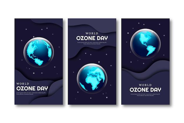 Gradientowy światowy dzień ozonu kolekcja opowiadań na instagramie