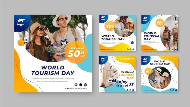 Gradientowy światowy dzień turystyki na instagramie postów kolekcji ze zdjęciem