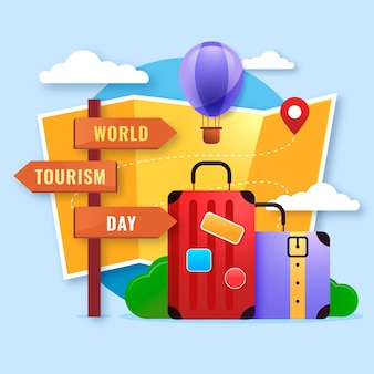 Gradientowy światowy dzień turystyki w tle