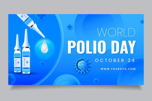 Gradientowy światowy szablon postu w mediach społecznościowych z okazji polio