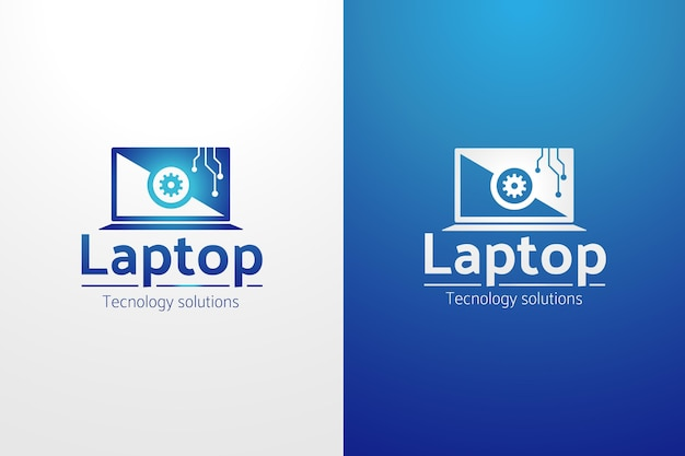 Gradientowy szablon logo komputera