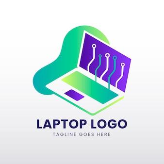 Gradientowy szablon logo laptopa