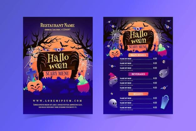 Gradientowy szablon menu halloween