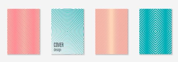 Gradientowy szablon okładki. cyfrowy dziennik, patent, certyfikat, makieta strony. różowy i turkusowy. gradientowy szablon okładki z geometrycznymi elementami linii i kształtami.