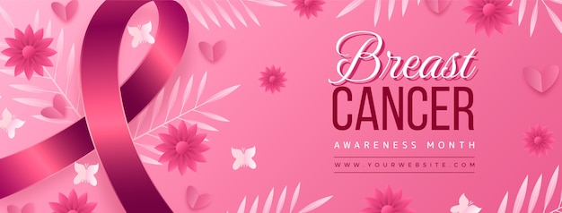 Gradientowy szablon okładki w mediach społecznościowych miesiąca świadomości raka piersi