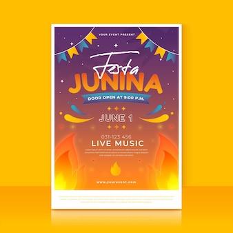 Gradientowy szablon pionowego plakatu festa junina