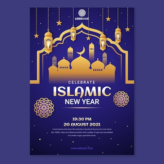 Gradientowy szablon pionowego plakatu islamskiego nowego roku