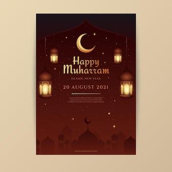 Gradientowy szablon pionowy plakat muharram