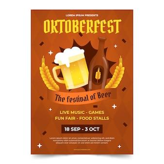 Gradientowy szablon pionowy plakat oktoberfest