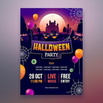 Gradientowy szablon plakatu halloween party