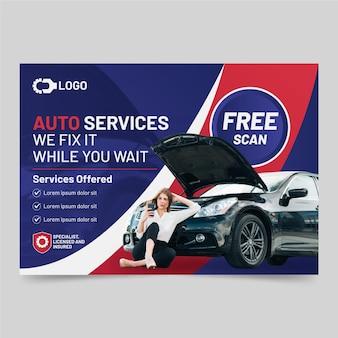 Gradientowy szablon plakatu samochodowego ze zdjęciem poziomym