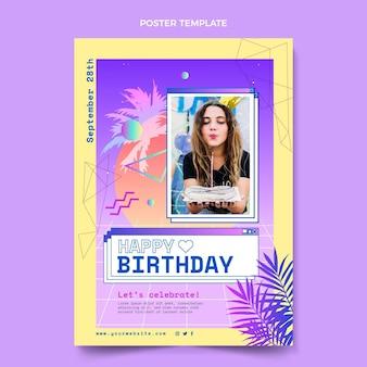 Gradientowy szablon plakatu urodzinowego retro vaporwave